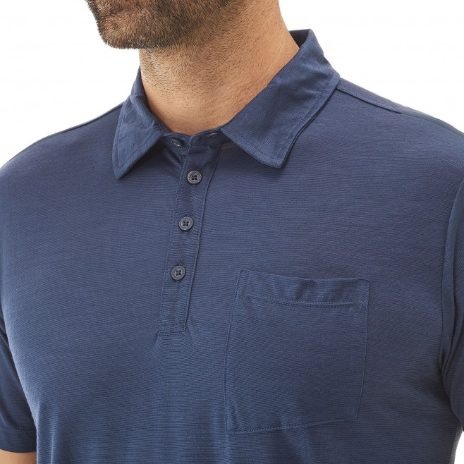 Polo homme - randonnée - gris IMJA WOOL POLO Millet 4