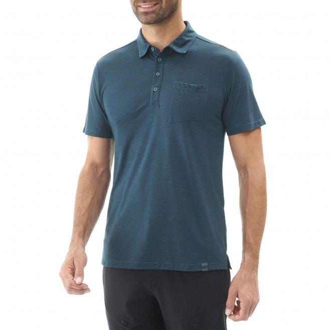 Polo homme - randonnée - marine IMJA WOOL POLO Millet 2