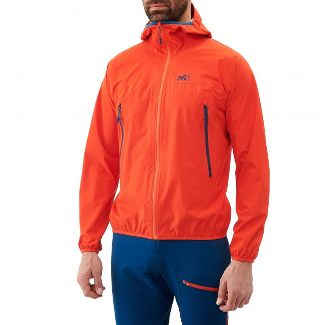 Veste imperméable homme - trail - orange LTK RUSH 2.5L JKT Millet 2