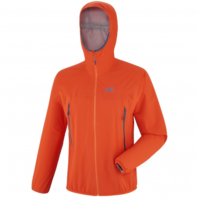 Veste imperméable homme - trail - orange LTK RUSH 2.5L JKT Millet