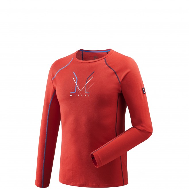 Tee-Shirt manches longues homme - alpinisme - rouge TRILOGY WOOL TS LS Millet