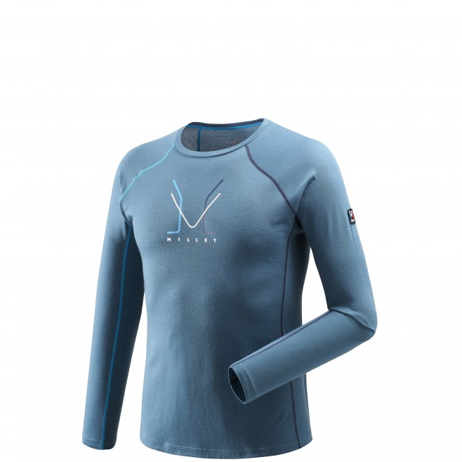 Tee-Shirt manches longues homme - alpinisme - bleu TRILOGY WOOL TS LS Millet