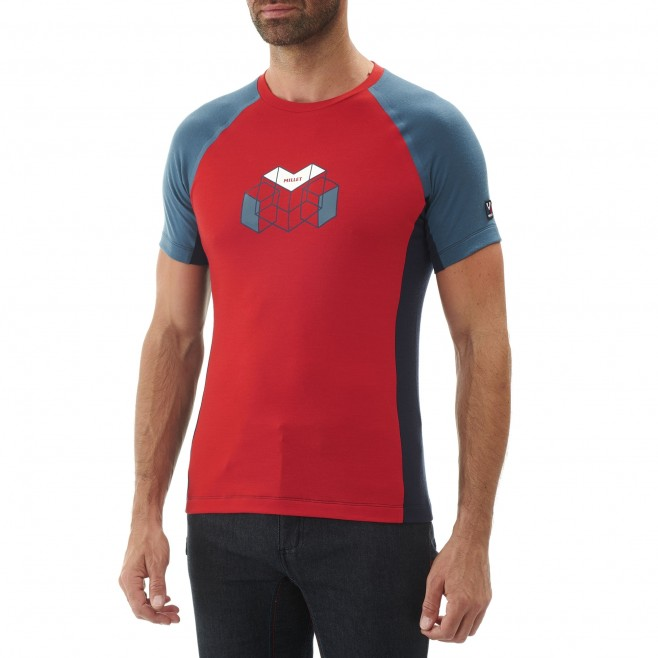 Tee-Shirt manches courtes homme - alpinisme - rouge TRILOGY WOOL HEXA TS SS Millet 2