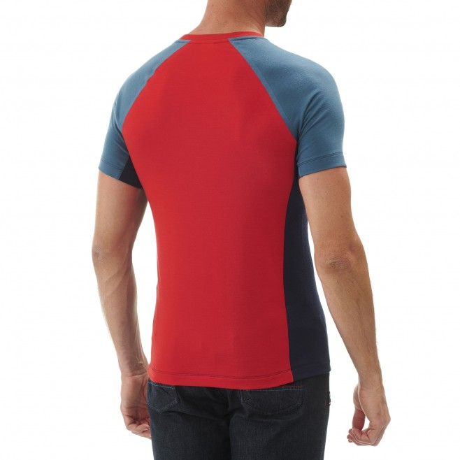 Tee-Shirt manches courtes homme - alpinisme - rouge TRILOGY WOOL HEXA TS SS Millet 3