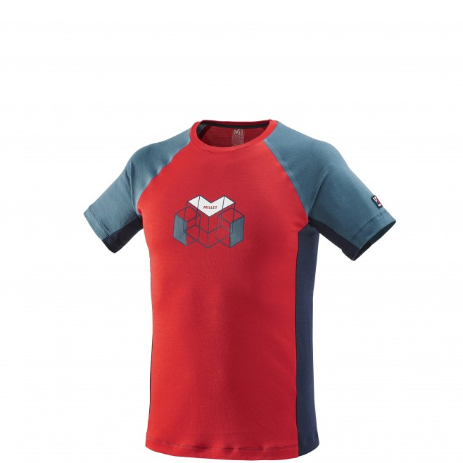 Tee-Shirt manches courtes homme - alpinisme - rouge TRILOGY WOOL HEXA TS SS Millet