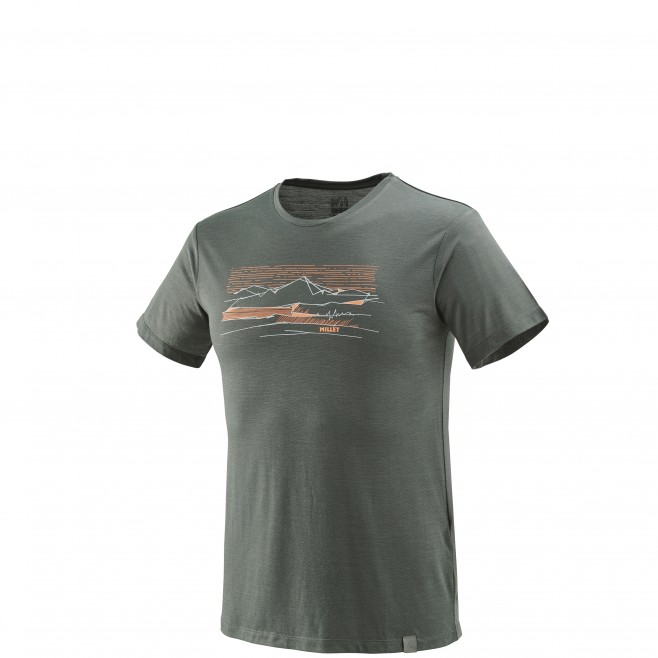 Tee-Shirt manches courtes homme - randonnée - gris SEVAN WOOL TS SS Millet