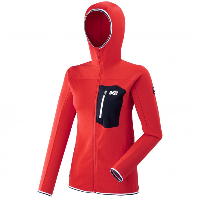 Micro polaire - femme - rouge TRILOGY LIGHTGRID HOODIE W Millet