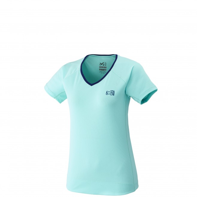 Tee-Shirt manches courtes femme - alpinisme - turquoise LD ROC TS SS Millet