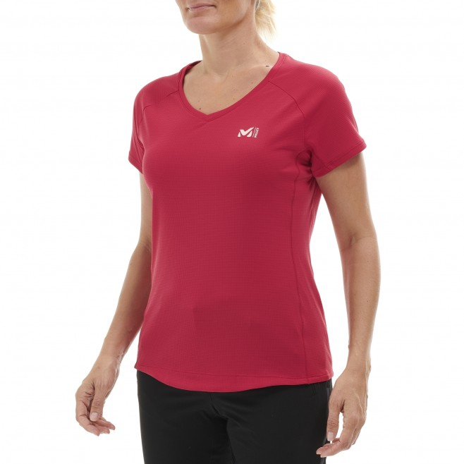 Tee-Shirt manches courtes femme - alpinisme - rose LD ROC TS SS Millet 2