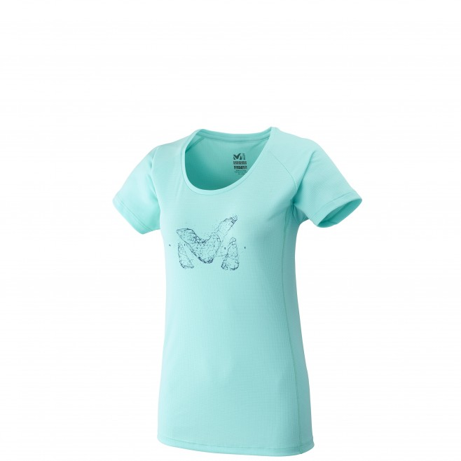 Tee-Shirt manches courtes femme - alpinisme - turquoise LD M LOGO TS SS Millet