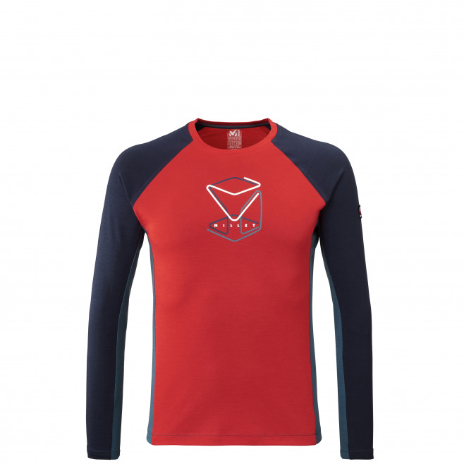 Tee-shirt manches longues - homme - rouge TRILOGY WOOL CUBE TS LS M Millet