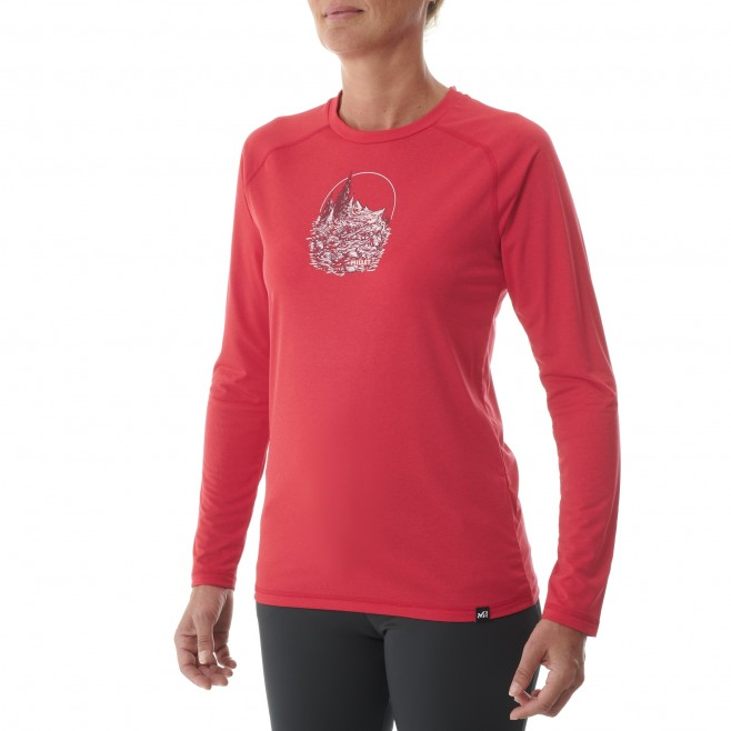 Tee-Shirt manches longues - Femme - Rouge TRACK FINDER TS LS W Millet 2